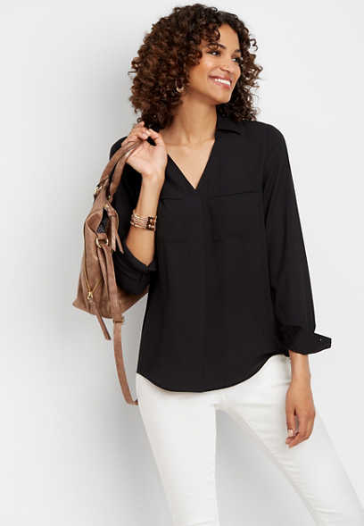 solid v-neck popover blouse