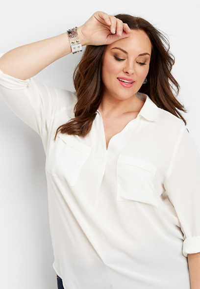 plus size solid v-neck popover blouse