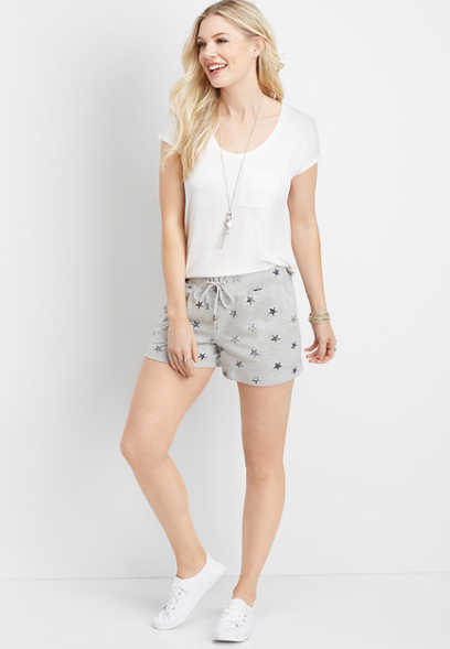 star print 3.5in french terry short