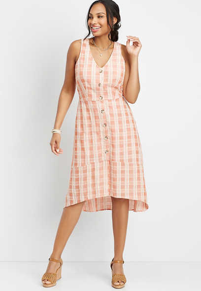 button front plaid woven dress