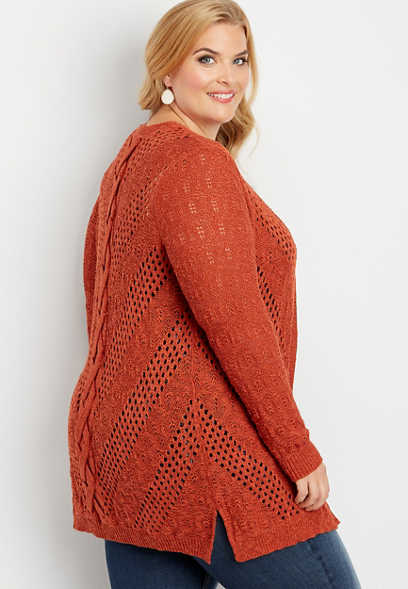 plus size lace up back stitch cardigan