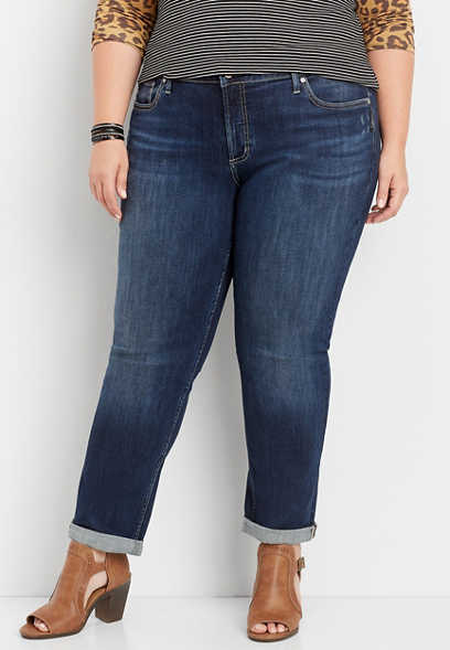 plus size Silver Jeans Co.® Sam dark rolled boyfriend jean