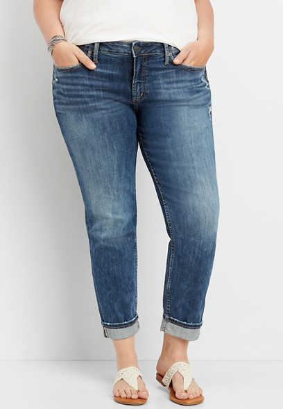 plus size Silver Jeans Co.® Suki cuffed straight leg jean