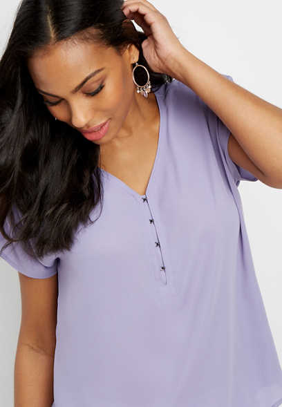 solid hook and eye short sleeve top