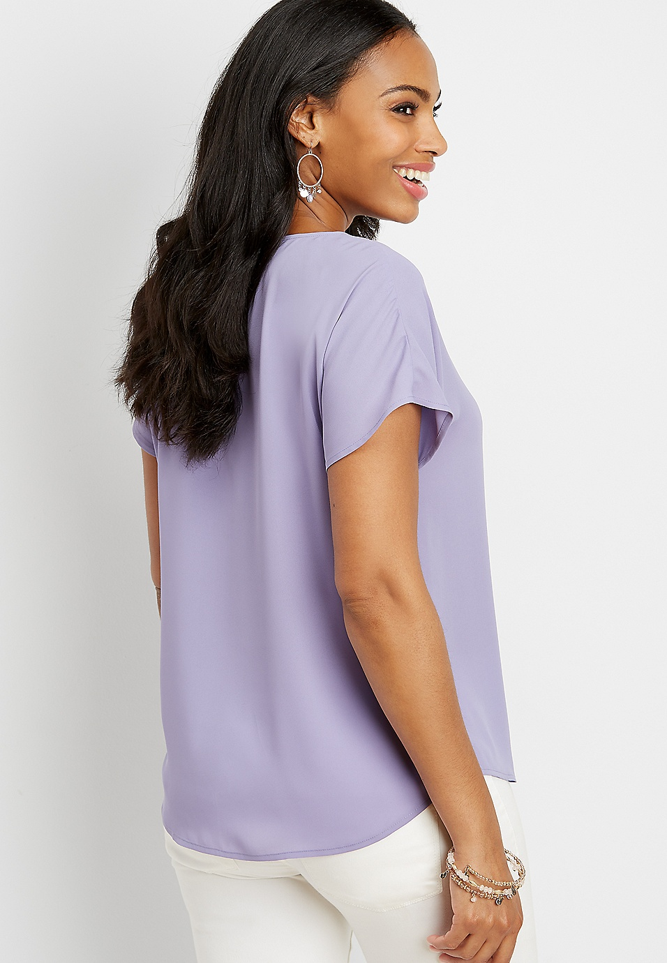 ec532ece313f6b solid hook and eye short sleeve top | maurices