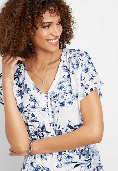 floral hook and eye v-neck top