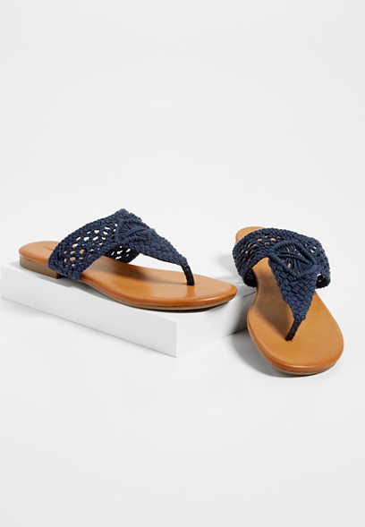 Annie crocheted thong sandals