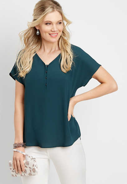 solid hook and eye v-neck top. quickview add to favorites d79c9ecb236b