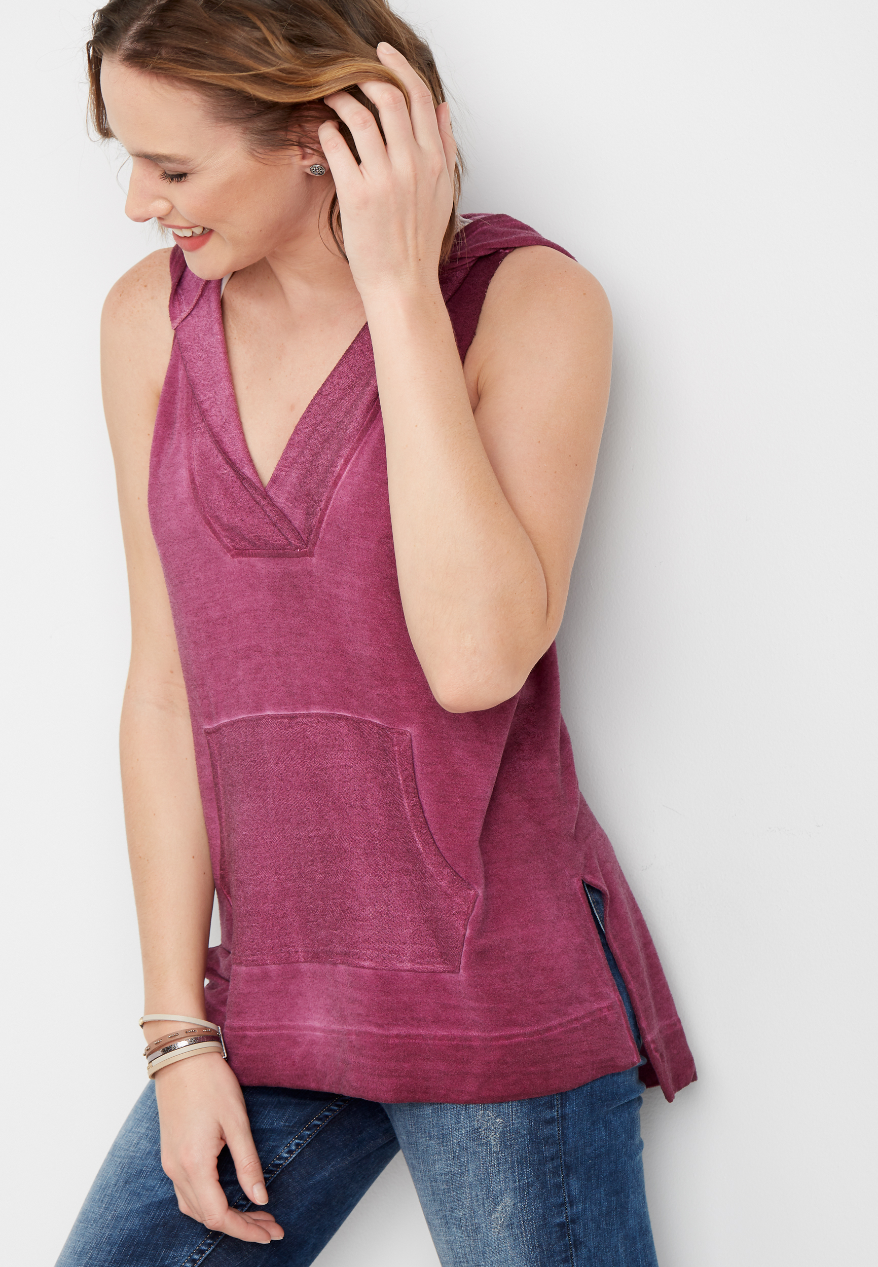 Sleeveless Tunic Pullover Hoodie by Maurices