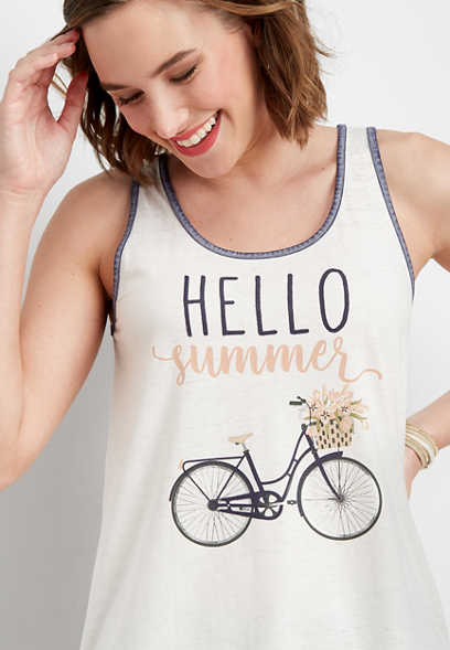 hello summer graphic tank