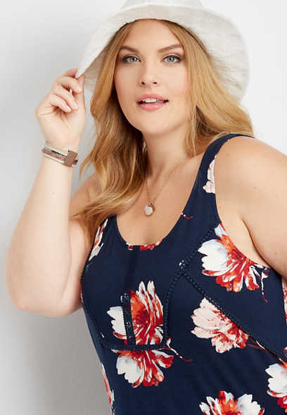 plus size floral scoop neck knit tank