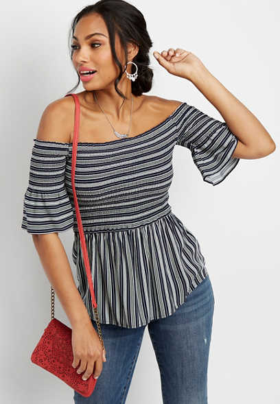 off the shoulder smocked stripe top
