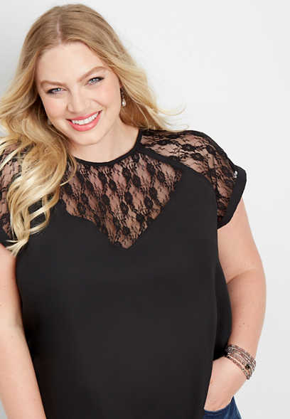 plus size lace pieced short sleeve top