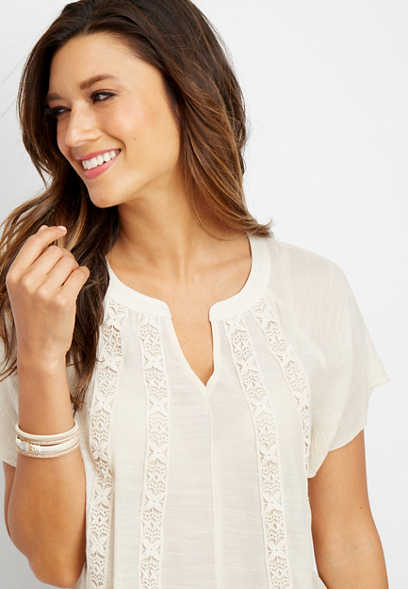 crocheted trim peasant top