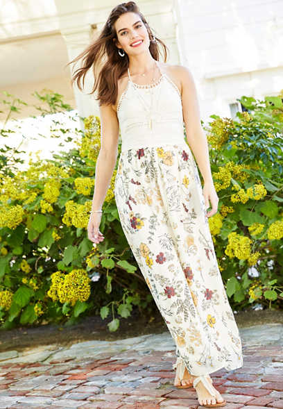 crocheted top floral maxi dress