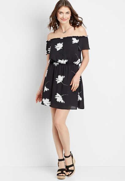 d8d54e830fd79f off the shoulder floral dress