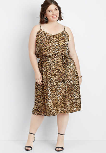 plus size animal print tie front dress