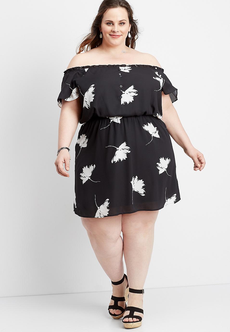 5ae57185d40a5 plus size off the shoulder floral dress | maurices