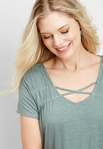 24/7 ruched strappy neck tee