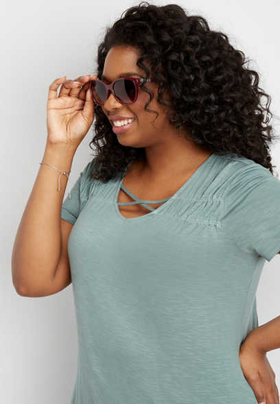 plus size 24/7 ruched strappy neck tee