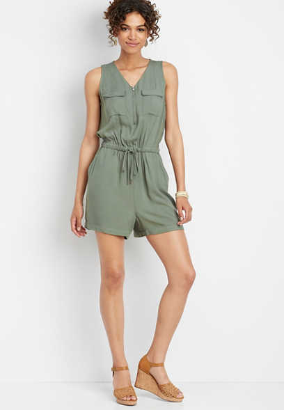 zipper v-neck utility romper