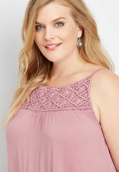 plus size macramé yoke solid knit tank