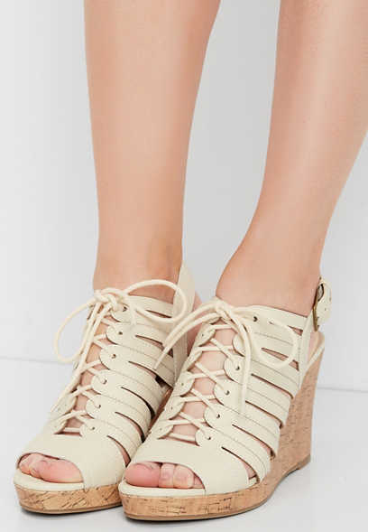 e794a0ac4071 Eevi lace up cork wedge