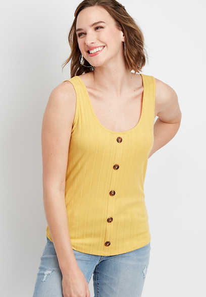 ribbed knit button front tank