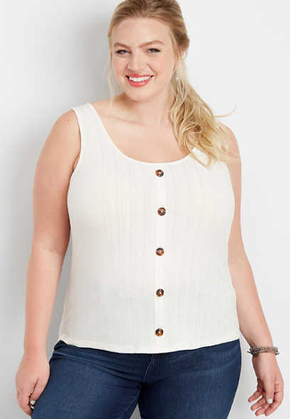 plus size ribbed knit button front tank