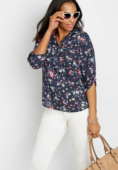 tropic floral v-neck blouse