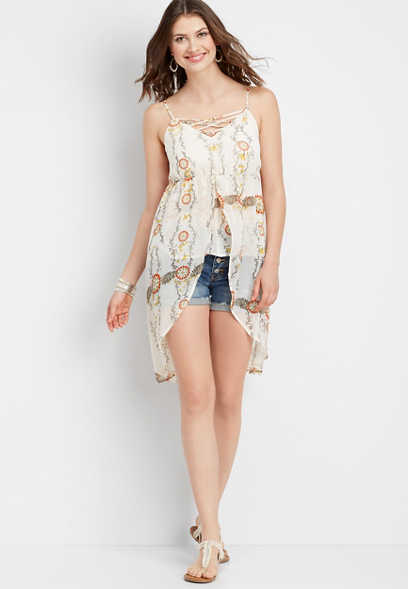 lattice front flowy cami