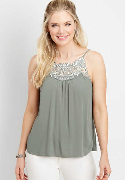embroidered yoke cami