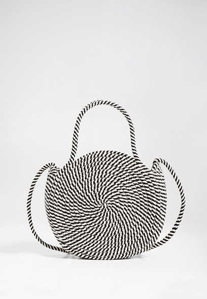 stripe round rope crossbody bag