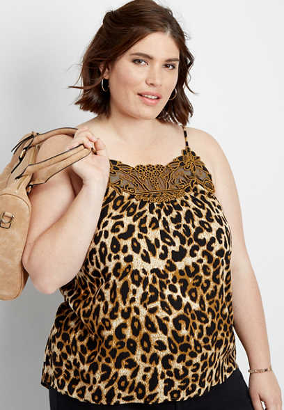 plus size embroidered yoke leopard print cami
