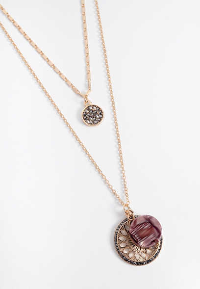 berry resin double row drape necklace