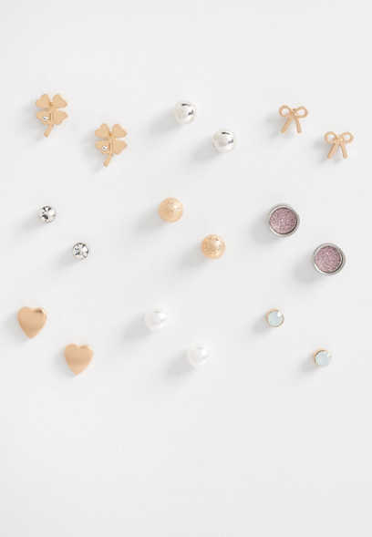nine piece heart earring set