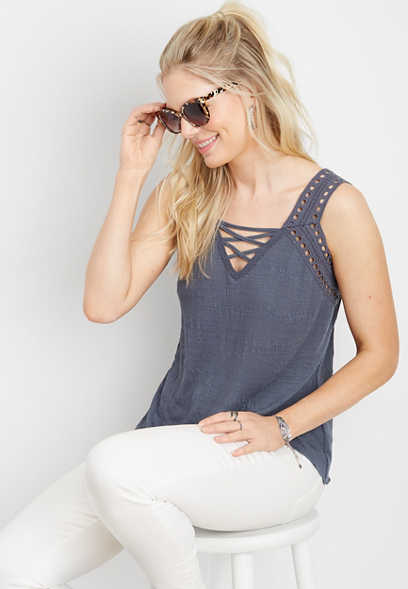 lattice v-neck knit tank