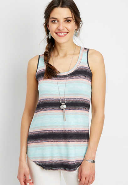 24/7 speckle stripe scoop neck tank