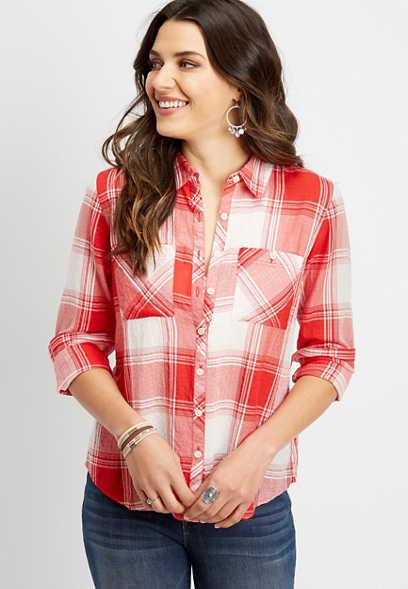 bdd488e4c39 long sleeve plaid button down shirt