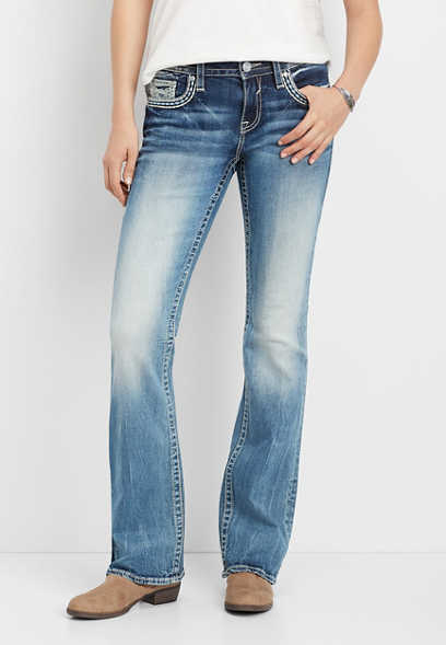 Vigoss® thick stitch faux flap pocket bootcut jean