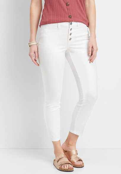 DenimFlex™ white high rise button fly ankle jegging