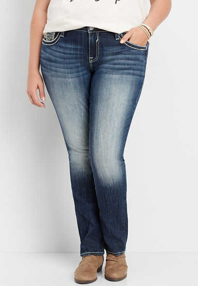 plus size Vigoss® faux flap straight leg jean