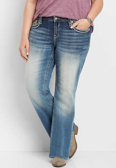 plus size Vigoss® embellished pocket bootcut jean