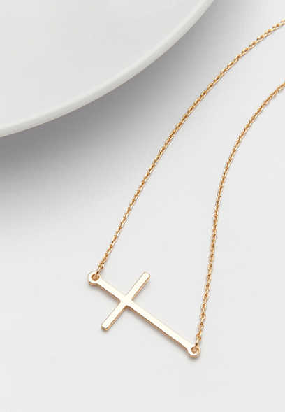 dainty goldtone sideways cross necklace