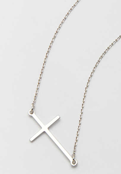 dainty silvertone sideways cross necklace