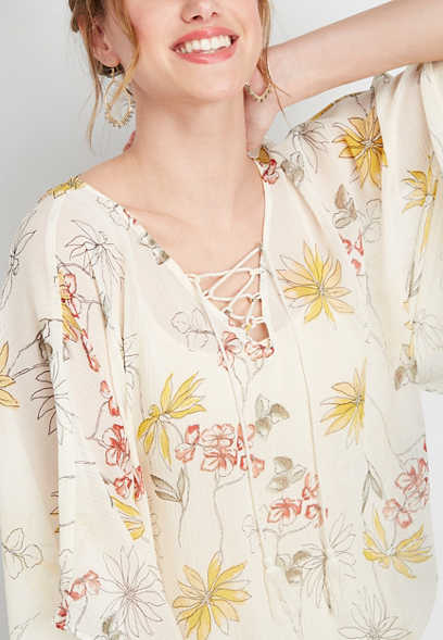 floral lace up v-neck kimono top