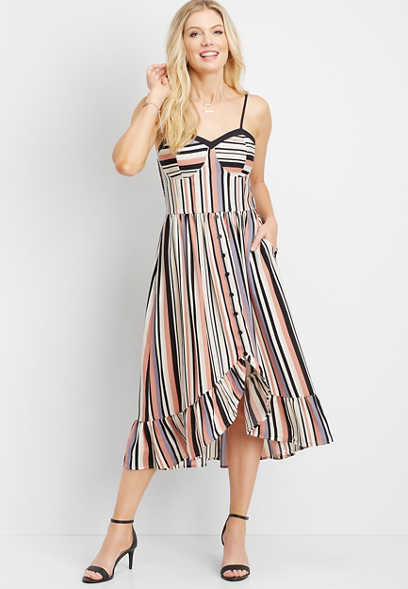 stripe button front mid-length dress
