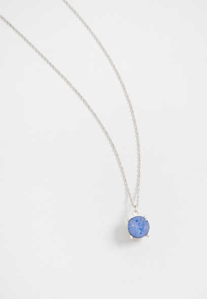 dainty blue stone pendant necklace