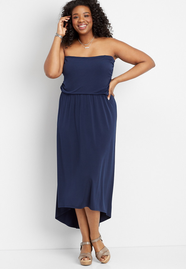 plus size solid tube top maxi dress