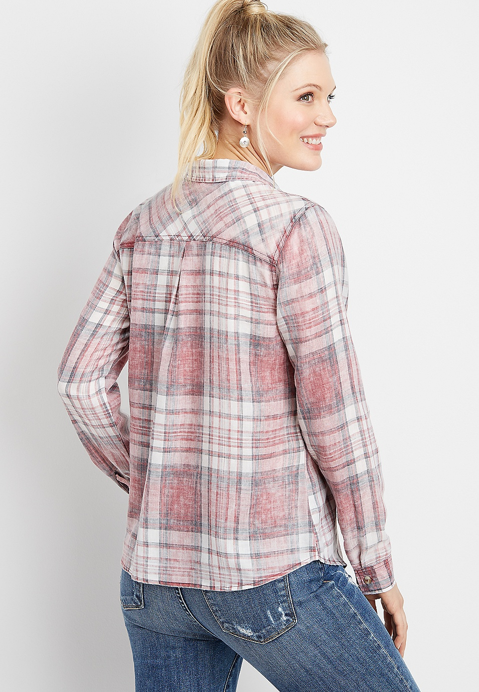 739e21b35 plaid overwashed button down shirt | maurices